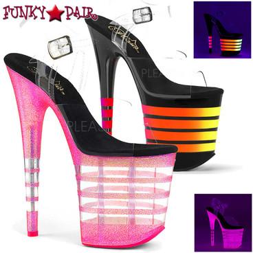 Pleaser | Flamingo-808UVLN, UV Reactive Line Platform Ankle Strap Sandal