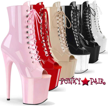 Pleaser Flamingo-1021, 8 Inch Heel Peep Toe Ankle Boots