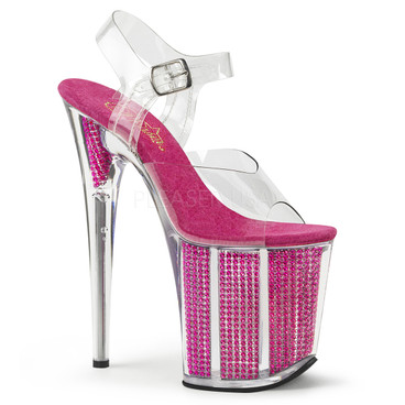 Flamingo-808SRS, clear/Fuchsia 8 Inch with Simulated Rhinestones Ankle Strap Sandal