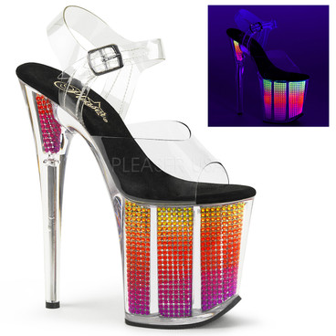 Flamingo-808SRS, 8 Inch with Multi Color Simulated Rhinestones Ankle Strap Sandal