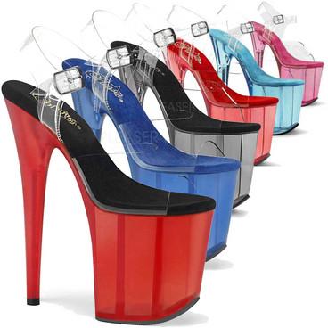 Flamingo-808T, 8 Inch Tint Platform Ankle Strap Sandal by Pleaser
