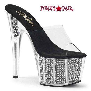 Pleaser | Adore-701SRS, 7 Inch Mule with Simulated Rhinestones Fill Bottom