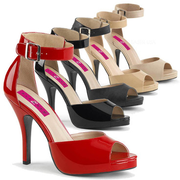 "Crossdresser Eve-02, 5"" Heel Buckle Ankle Strap Sandal"