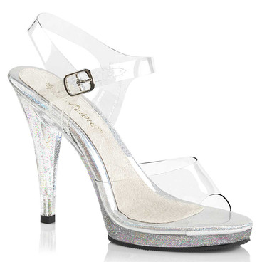 "Flair-408MG, 4.5"" Clear Sandal with Mini Heel"