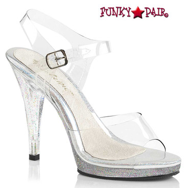 Fabulicious Flair-408MG, 4.5 Inch Anle Strap Sandal with Mini Glitters