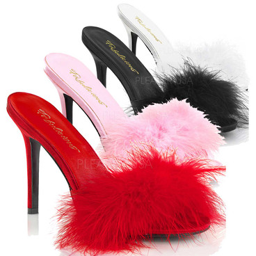 Classique-01F, 4 Inch Heel Marabou Slipper