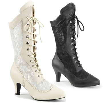 """Divine-1050, 3"""" Heel Lace Mid Calf Boots   Pink Label"""