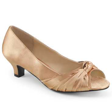 "Fab-422, 2"" Heel Peep Toe Pump color blush bronze satin"