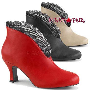 Jenna-105 Kitten Heel Ankle Boots by Pleaser Pink Label
