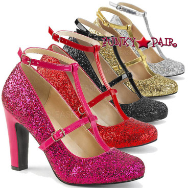 Pleaser Pink Label Queen-01 Glitter Pumps