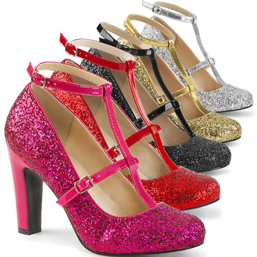 "Queen-01, 4"" Drag Queen Pump with Glitters by Pleaser Pink label"
