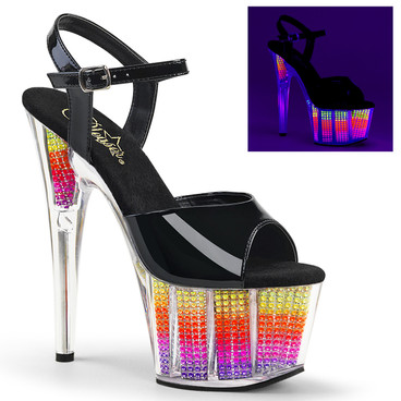 Adore-709SRS, 7 Inch Ankle Strap Sandal with Rhinestones Fill Bottom
