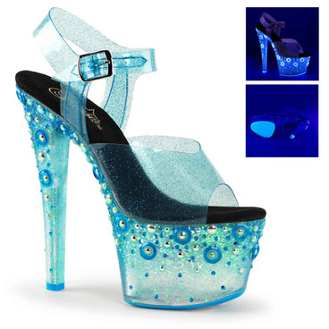 Sky-308UVMG, Blue 7 Inch Platform Sandal with UV Reactive