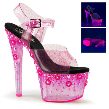 Sky-308UVMG, Pink 7 Inch Platform Sandal with UV Reactive