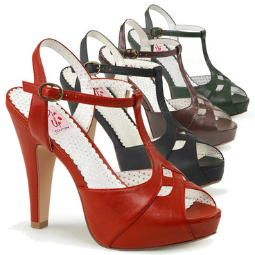Bettie-23, Peep Toe T-Strap Sandal Pin-Up Couture Shoes