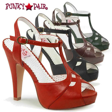 Pin-Up Couture | Bettie-23, Peep Toe T-Strap Sandal