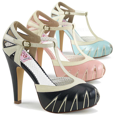 Bettie-25, 4.5 Inch Two Tone T-Strap Pump