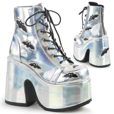 Demonia Camel-201, 5 Inch Chunky Heel Silver Ankle Boots with Holograhic Bat Accents