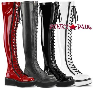 Demonia Emily-375, Goth Punk Thigh High Boots