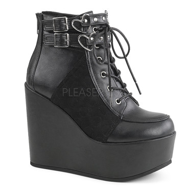 Poison-105, 5 Inch Wedge Platform Lace up Boots
