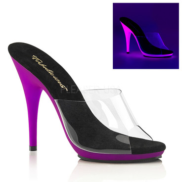 Poise-501UV, 5 Inch Heel Slide with Purple UV Bottom by Fabulicious