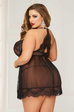 Plus Size Lace and Mesh Babydoll Set STM-10697X