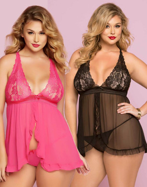 STM-10747X, Galloon Lace and Mesh Babydoll Set