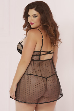 STM-10618X, Dot Mesh with Floral Lace Babydoll