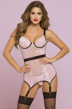 STM-10749, Floral Galloon and Mesh Chemise with Garters