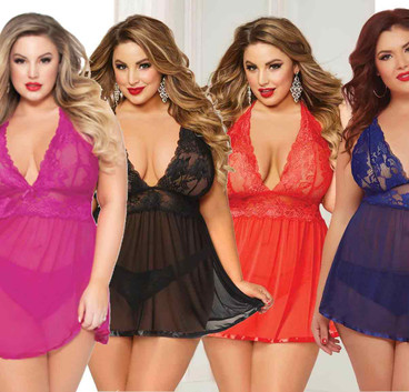 Plus Size 2pc Lace and Mesh Babydoll Set STM-10672X color available black, blue, red, fuchsia