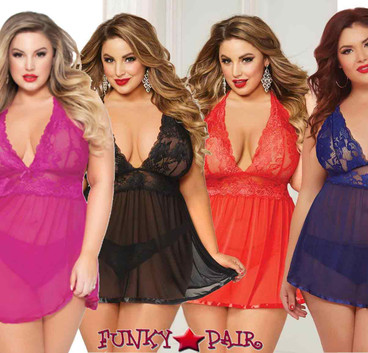 Plus size STM-10672X, 2pc Lace and Mesh Babydoll Set | FunkyPair.com