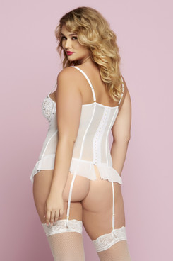 Plus Size 2pc White Bustier Set STM-10728X