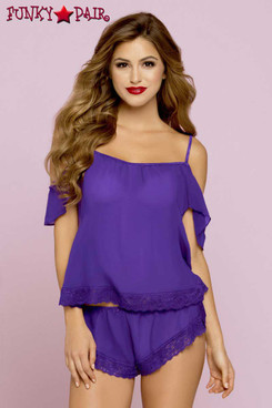 STM-10722, Chiffon Cami Set color purple front view