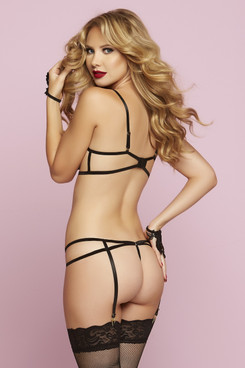 STM-10734, Floral Guipure Bra and Panty with Garter
