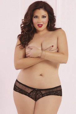 STM-10629X, Lace and Dot Mesh Panty