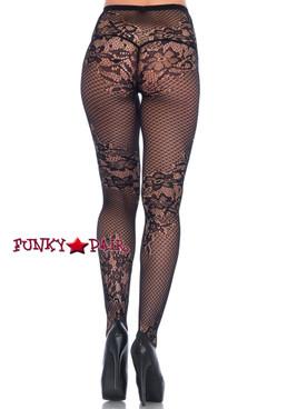 Women's Black Net and lace Tights   Leg Avenue LA9756 back view