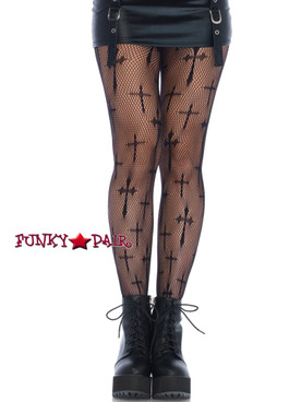 Designer Black Cross Net Tights | Leg Avenue LA9753