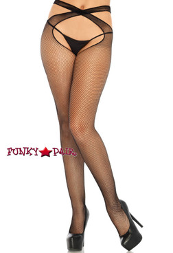 Leg Avenue Black Net Crotchless Tights | LA9761