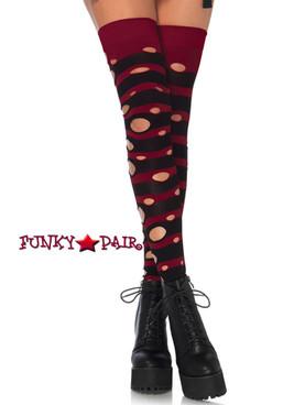 Black/Burgundy Distress Striped Stockings | Leg Avenue (LA6634)