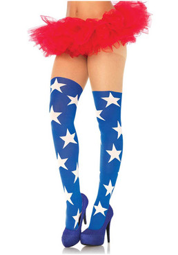 LA-7730, Patriot Blue With White Star Stockings by Leg Avenue
