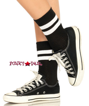 Black/White Striped Athletic Anklet Socks (LA3038) by Leg Avenue