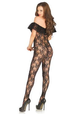 LA89197, Off the Shoulder Lace Bodystocking