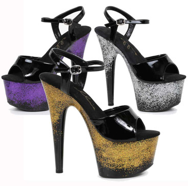 709-Cari, 7 Iinch Ankle Strap with Glitter Platform