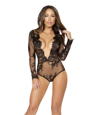 LI167, Long Sleeved Lace Teddy