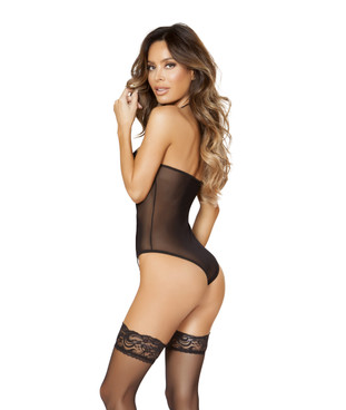 LI181, Sheer Romper with Padded Top