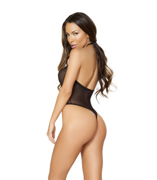LI150, Sheer Bodysuit with Front Zip Up