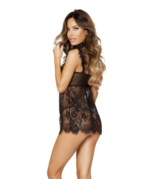 LI193, Sheer and Lace Babydoll Set