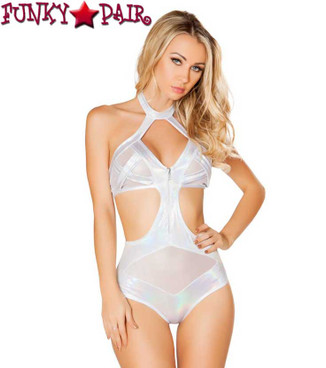 Roma | R-3420, Cutout Romper with Zipper Color white front view