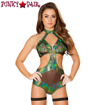 Roma | R-3420, Cutout Romper with Zipper Color Dark Green front view