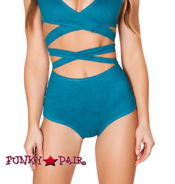 JV-FF693, Faux Suede High-Waist Short color teal